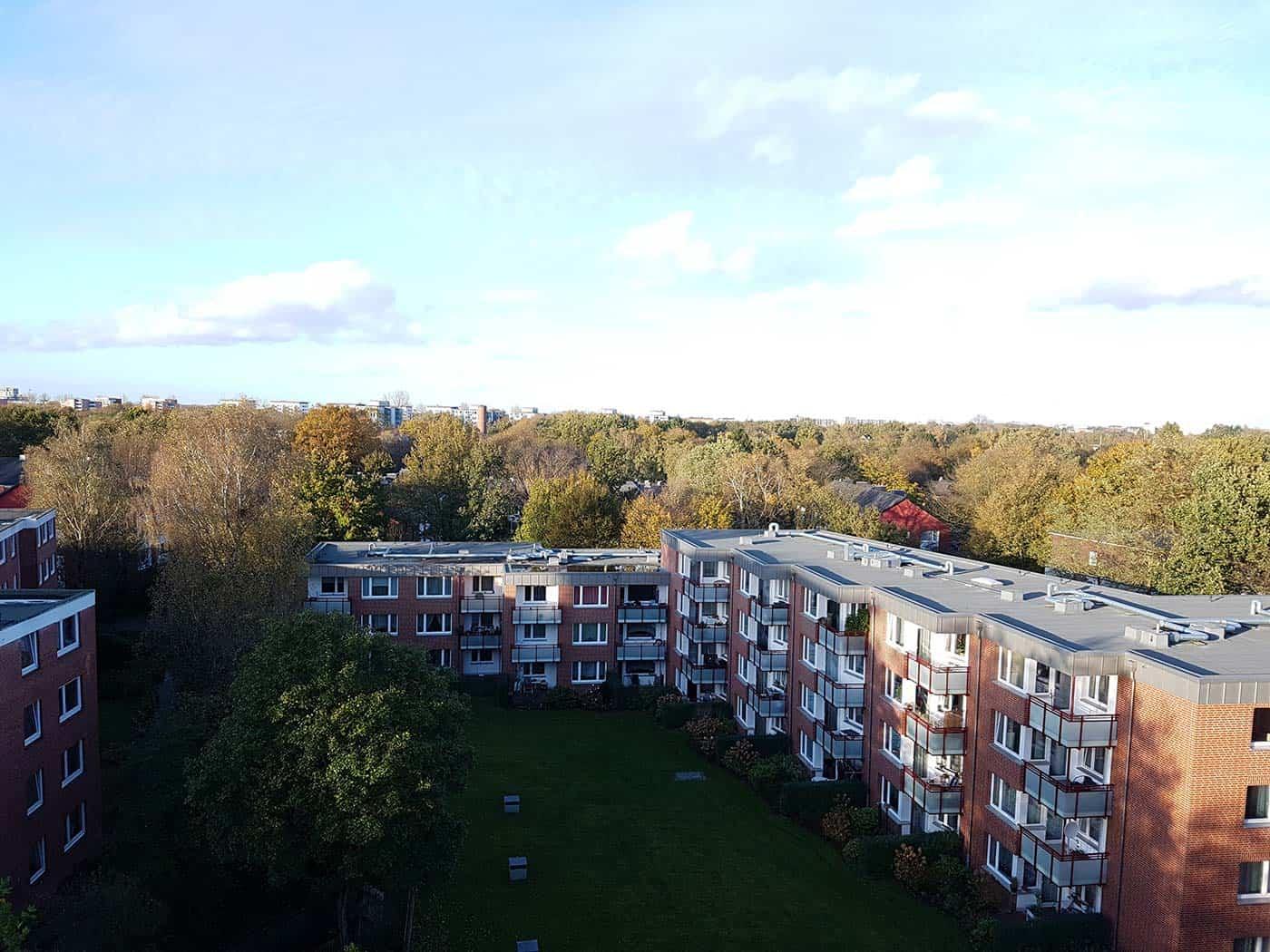 Hamburger Ausblick von mehrere Wohnungen
