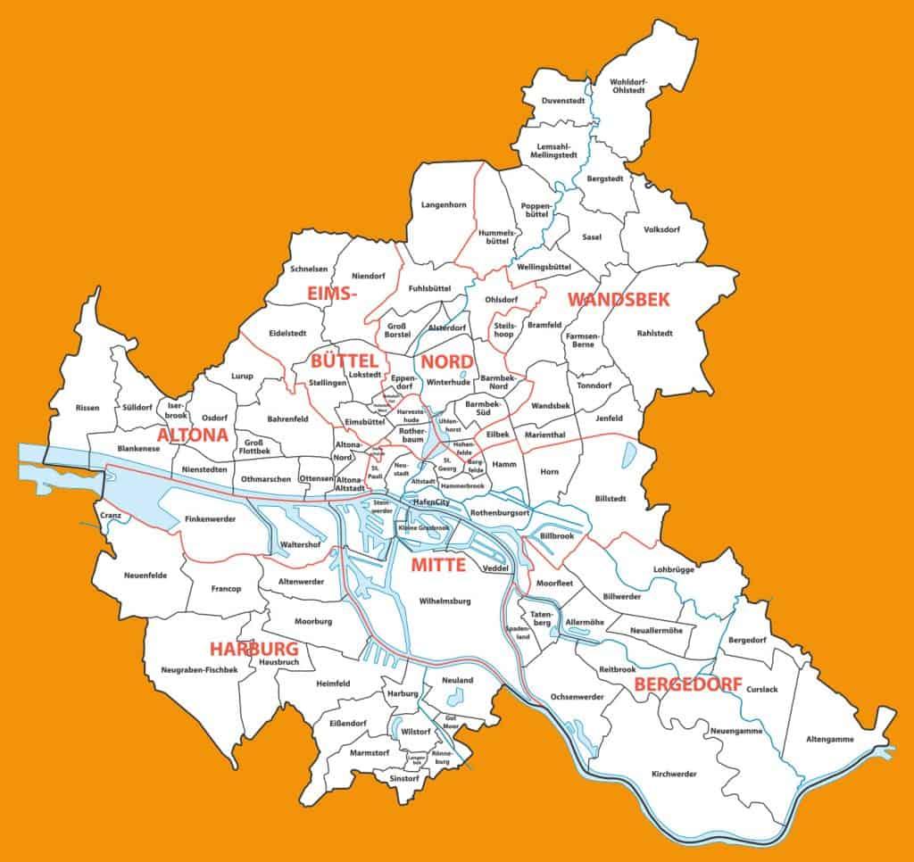 Karte von Hamburg in orange