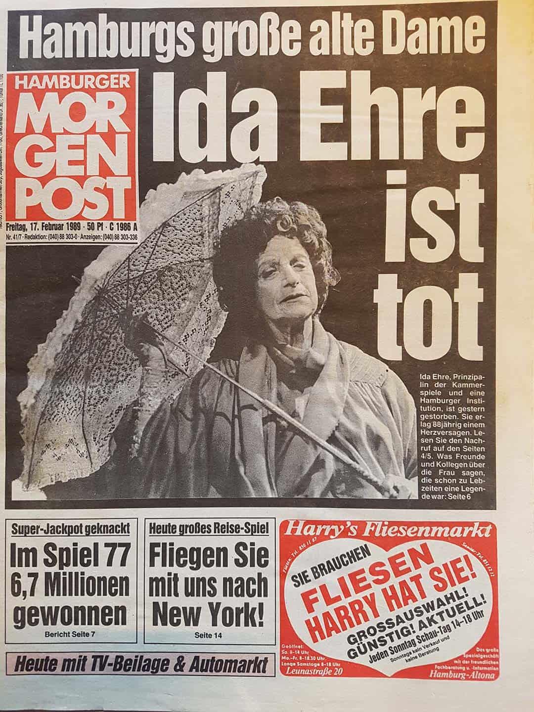 Hamburger Morgenpost Zeitung von 1989